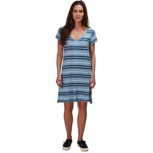 Dylan Indigo Knit Texture Slub Stripe V-Neck T-Shirt Dress