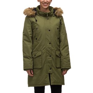 82 Degrees Fahrenheit Hooded Button Down with Faux Fur Trim Parka - Women's