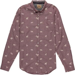 Free Nature Wolf Print Woven Button Down Long-Sleeve Shirt - Men's