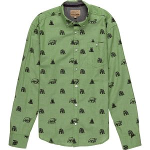 Free Nature Bear Print Woven Button Down Long-Sleeve Shirt - Men's