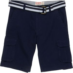 George & Martha Twill Cargo Short w/Striped Belt - Men's