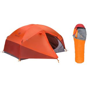 Marmot Limelight 2P Tent + Never Summer 0 Sleeping Bag Bundle