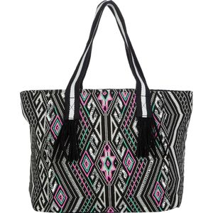 Magid Aztec Print Stripe Handle Tote