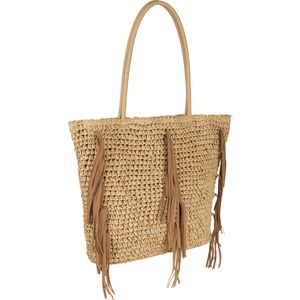 Magid Straw Faux Leather Tassle Tote