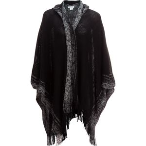 Magid Hooded Knit Ruana with Graded Edge & Fringe - Women's