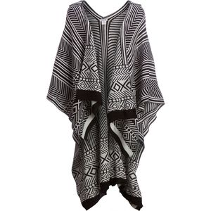 Magid Stripe Ruana with Hood & Diamond Deatail Trim - women's