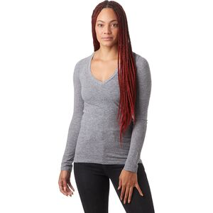 Monrow Granite Long-Sleeve V-Neck Shirt - Women's