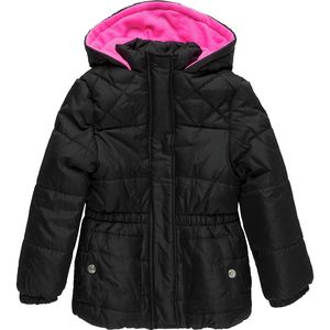 Pink Platinum Solid Hooded Puffer with Contrast Hood and Hat - Girls'