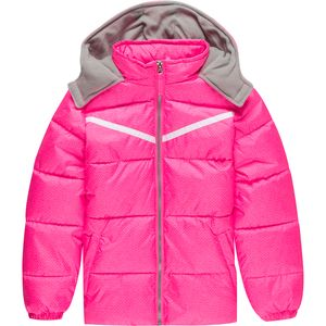 Pink Platinum Tonal Print Cut and Sew Puffer Jacket - Girls'