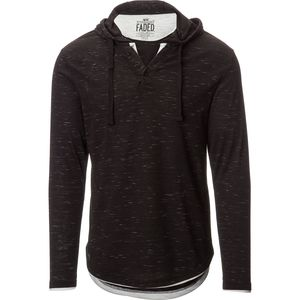 Straight Faded Button Front Pullover Hoodie - Men's