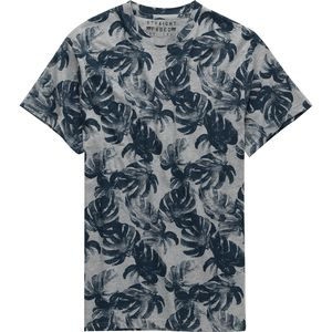 Straight Faded Tropical Leaf Printed Short Sleeve T-Shirt - Men's
