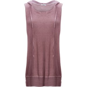 Violet Moon Oil Wash Round Neck Drawstring Hood Sleeveless Top - Women's