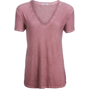 Violet Moon Oil Wash V-Neck Short-Sleeve Oversized Top -Women's