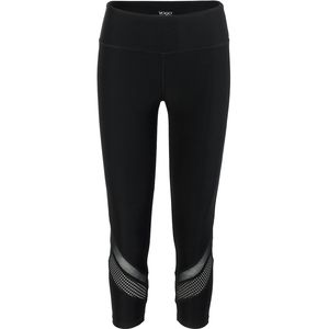 Vogo Activewear Solid Capri With Power Mesh And Chevron Inserts - Women's