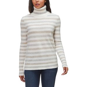 White + Warren Essential Stripe Turtleneck Sweater - Women's