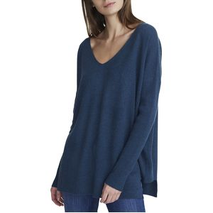 White + Warren Step Hem V-Neck Sweater - Women's