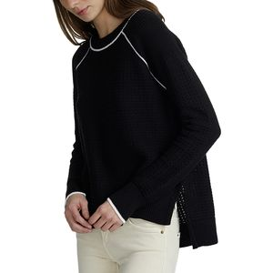 White + Warren Textured Tipped Crewneck - Women's