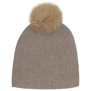 White + Warren Fur Pom Pom Rib Beanie - Women's