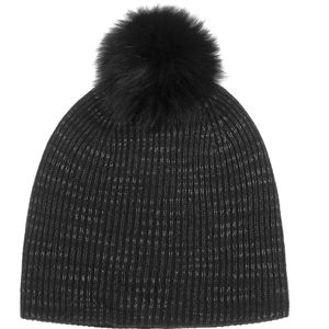 White + Warren Fur Pom Pom Spacedye Rib Beanie - Women's