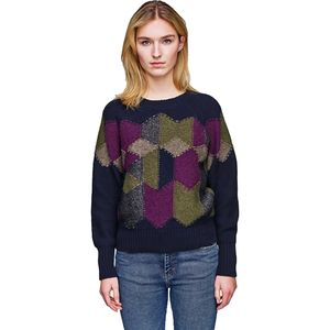 White + Warren Diamond Intarsia Crew Sweater - Women's