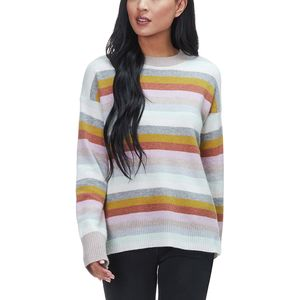 White + Warren Multicolor Stripe Crewneck Sweater - Women's